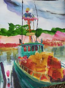Trawler at Triabuna harbor (TAS) (Watercolor - 50x40)