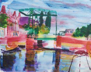 Utrechtse Veer, Leyden (Watercolor - 50x40)