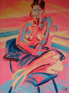 Anneke2 sketched (Oil and acryllic on canvas - 80x120)