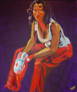 Portrait of woman in kick boxing outfit, resting (oil and acryllic on canvas - 80x80)