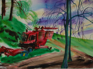 Engine in springtime - Les Ardennes, France (watercolor - 50x40)